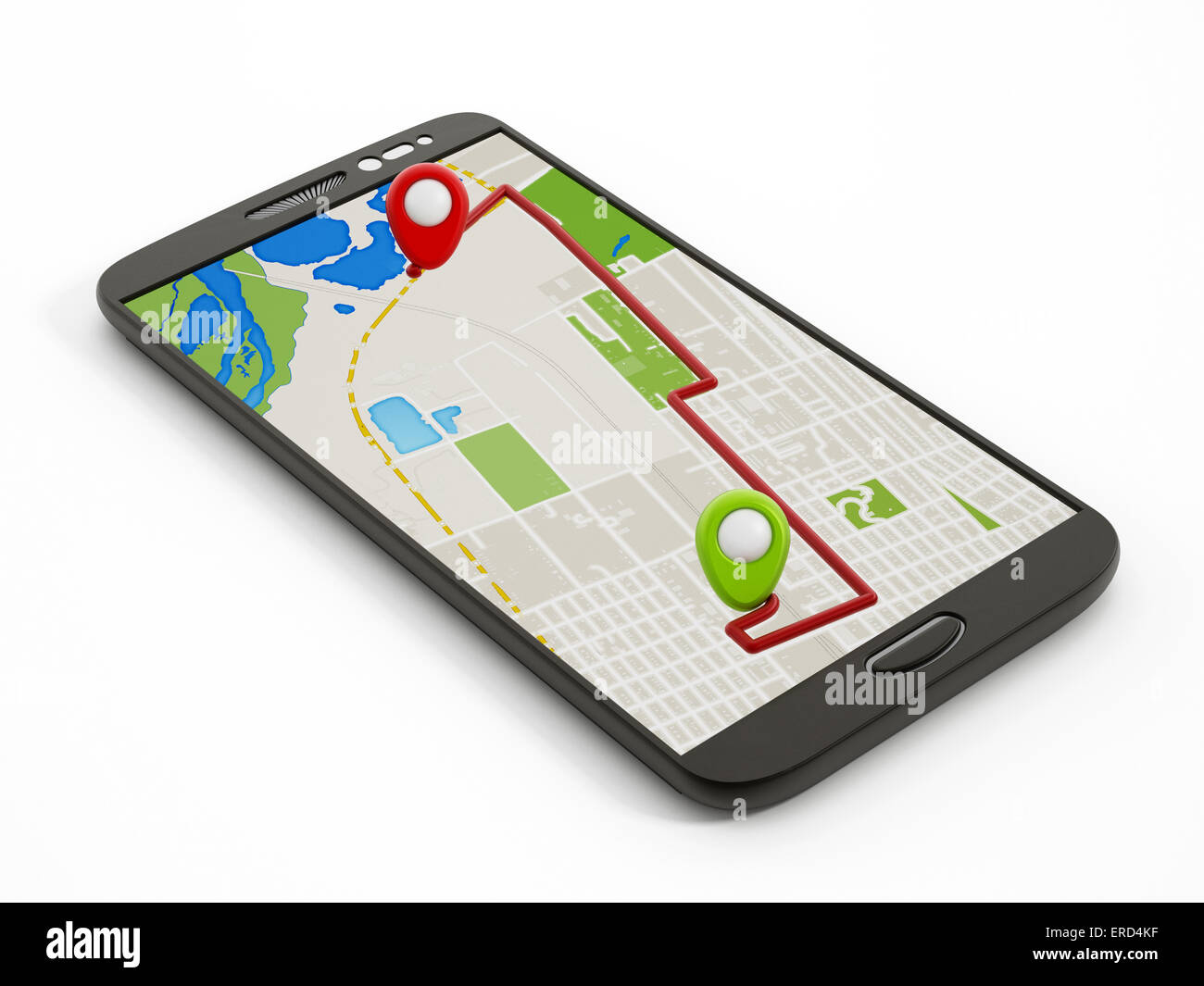 Navigation map on smartphone isolated on white - Stock Image