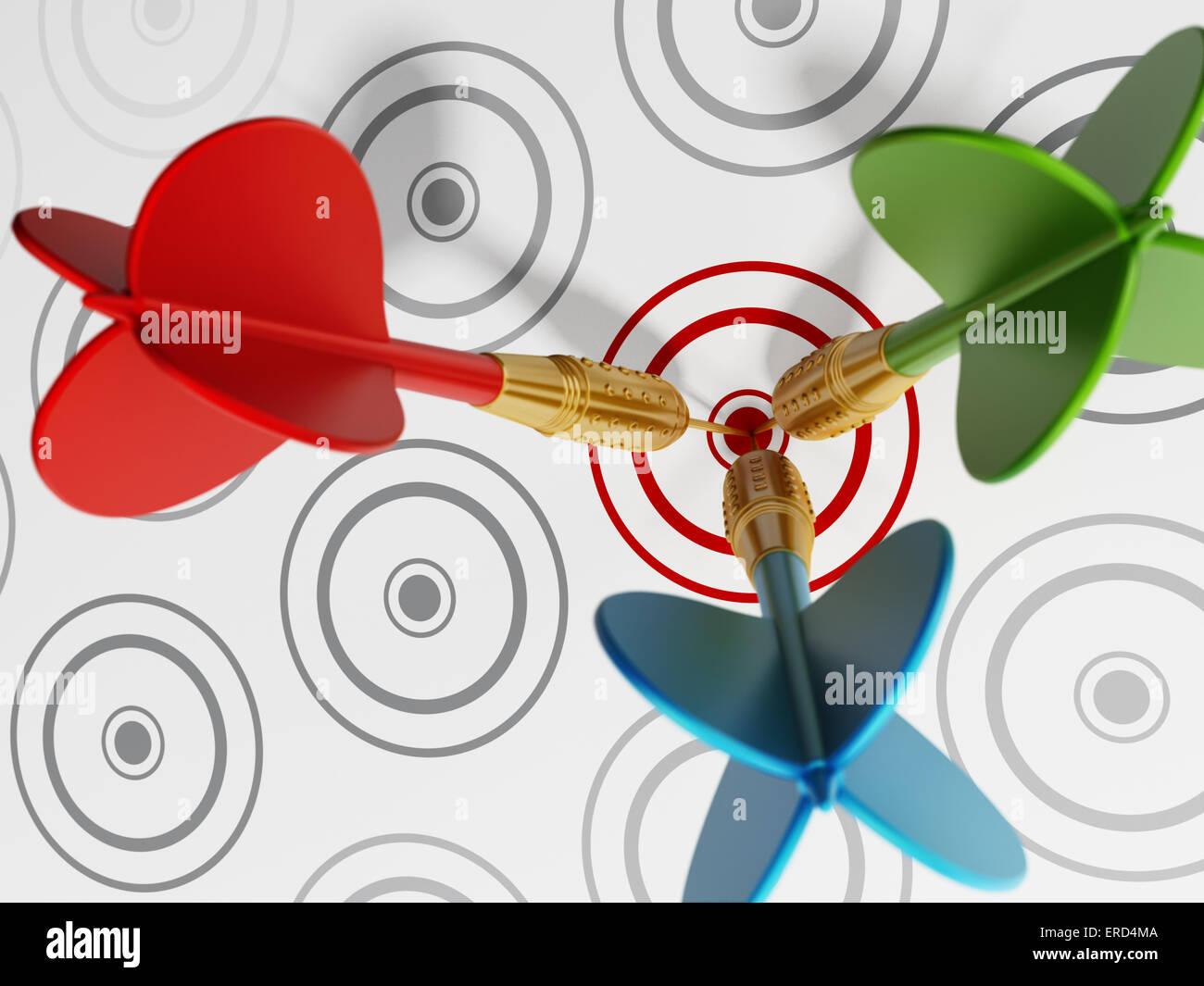 Three darts hitting red target among gray ones. - Stock Image