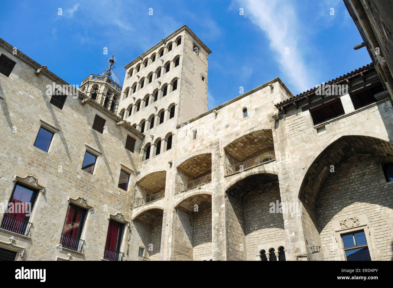 Palau Reial Major (Grand Royal Palace) in Placa del rei (King's Square) Gothic quarter, Barcelona, Spain - Stock Image