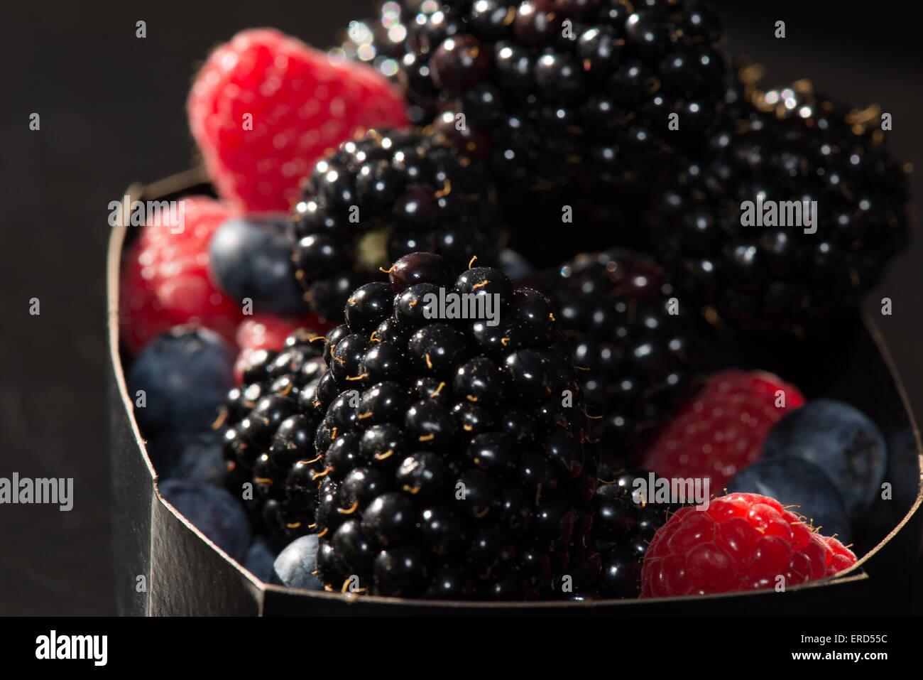 Fruit, raspberry, blackberry - Stock Image