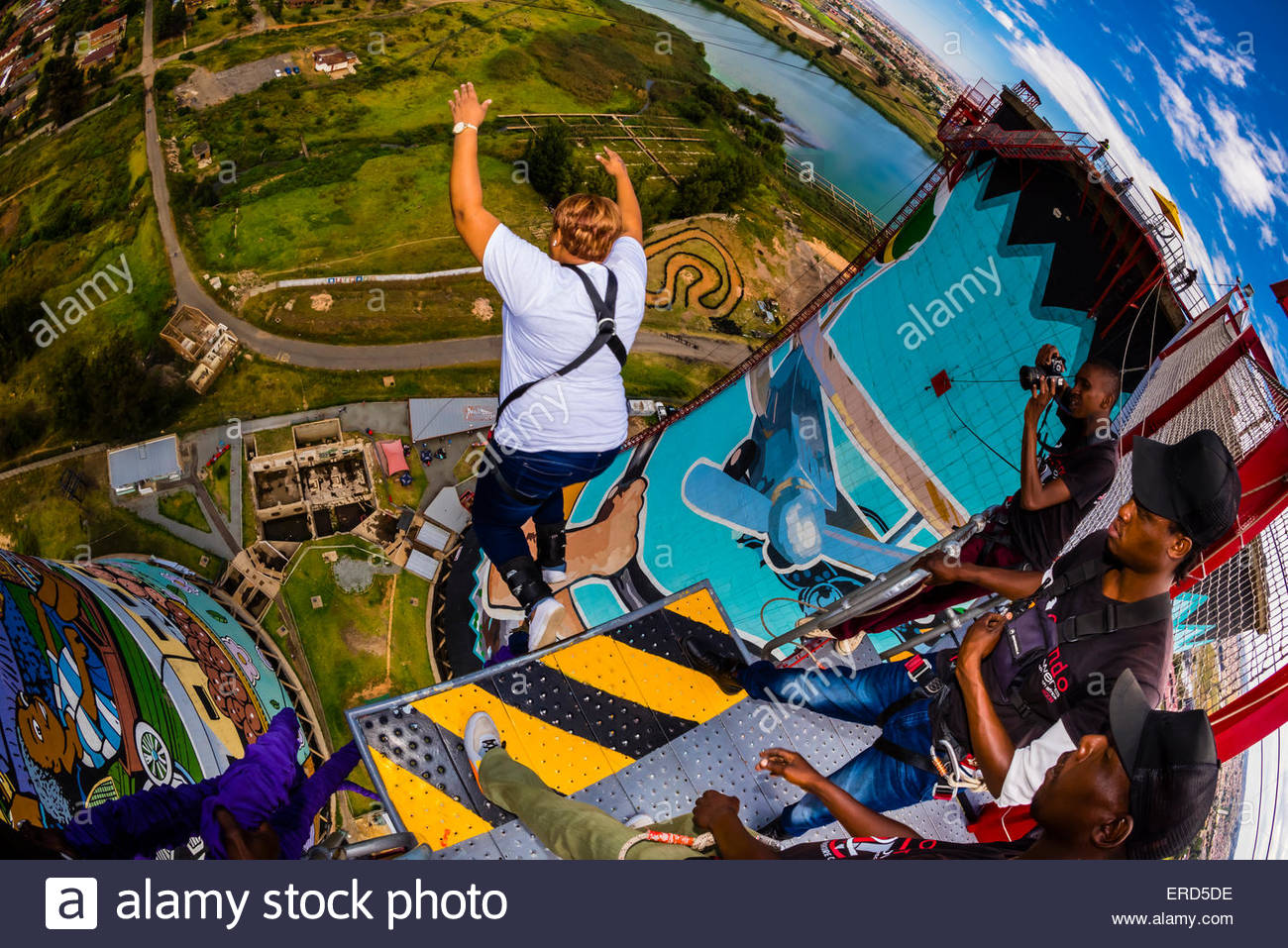 A woman going off the 100 meter (328 foot) bungee jump at