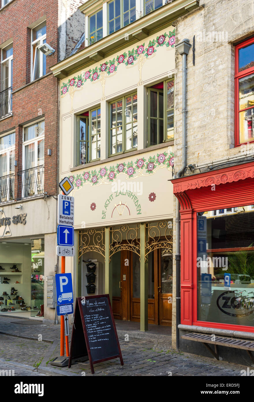 "Colourful art nouveau facade of the restaurant ""De Acht Zaligheden"", ""The Eight Beatitudes"", in Ghent, Belgium. Stock Photo"