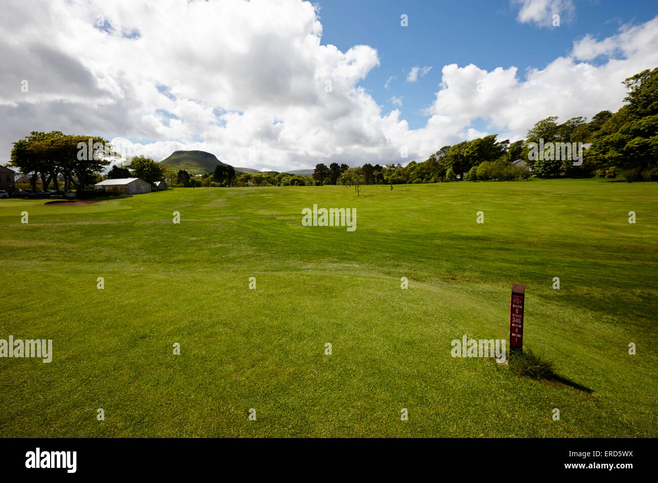 tee and fairway Cushendall golf course County Antrim Northern Ireland UK - Stock Image