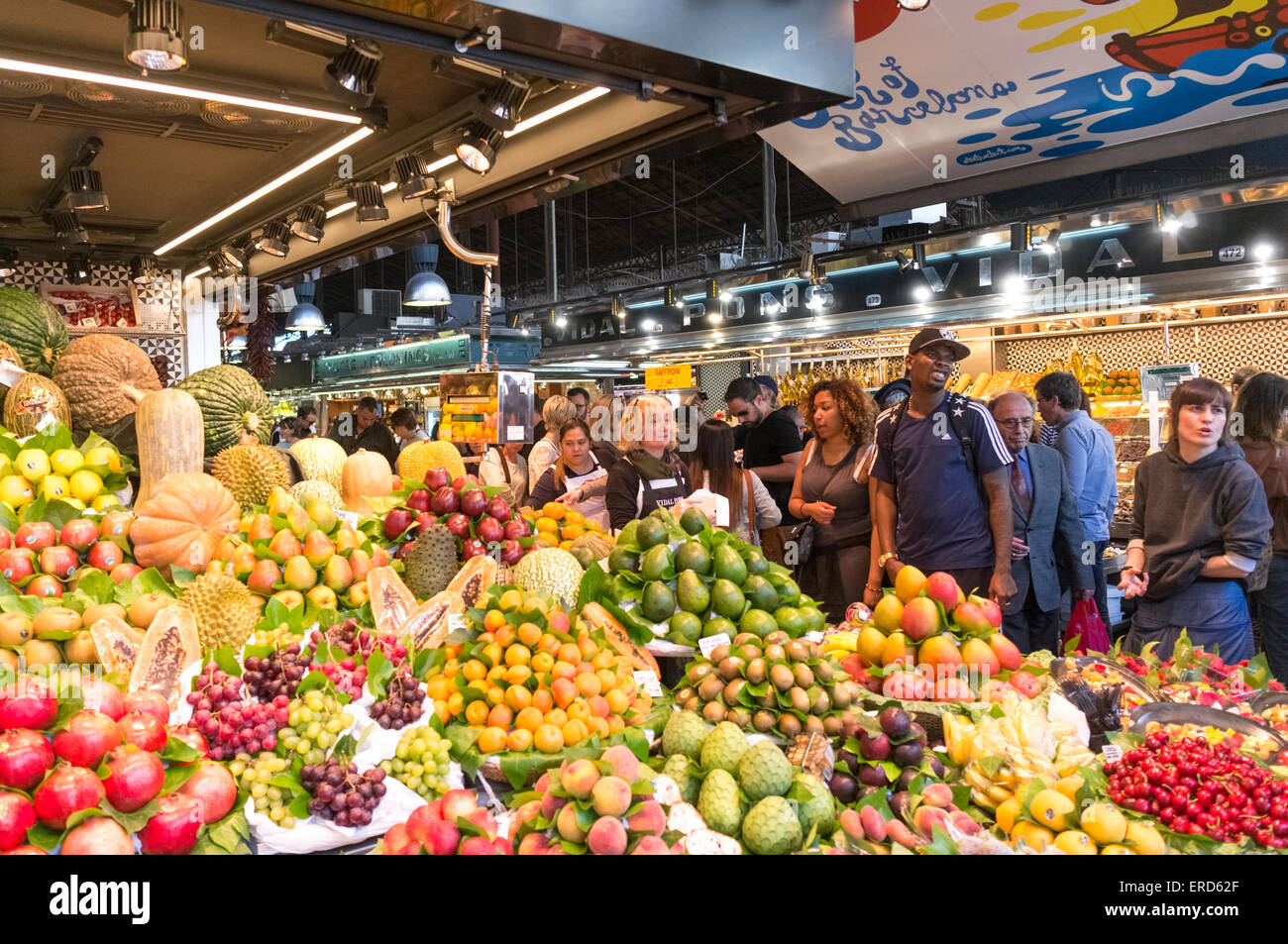 Fruits and vegetables for sale at La Boqueria market, Barcelona, Spain - Stock Image