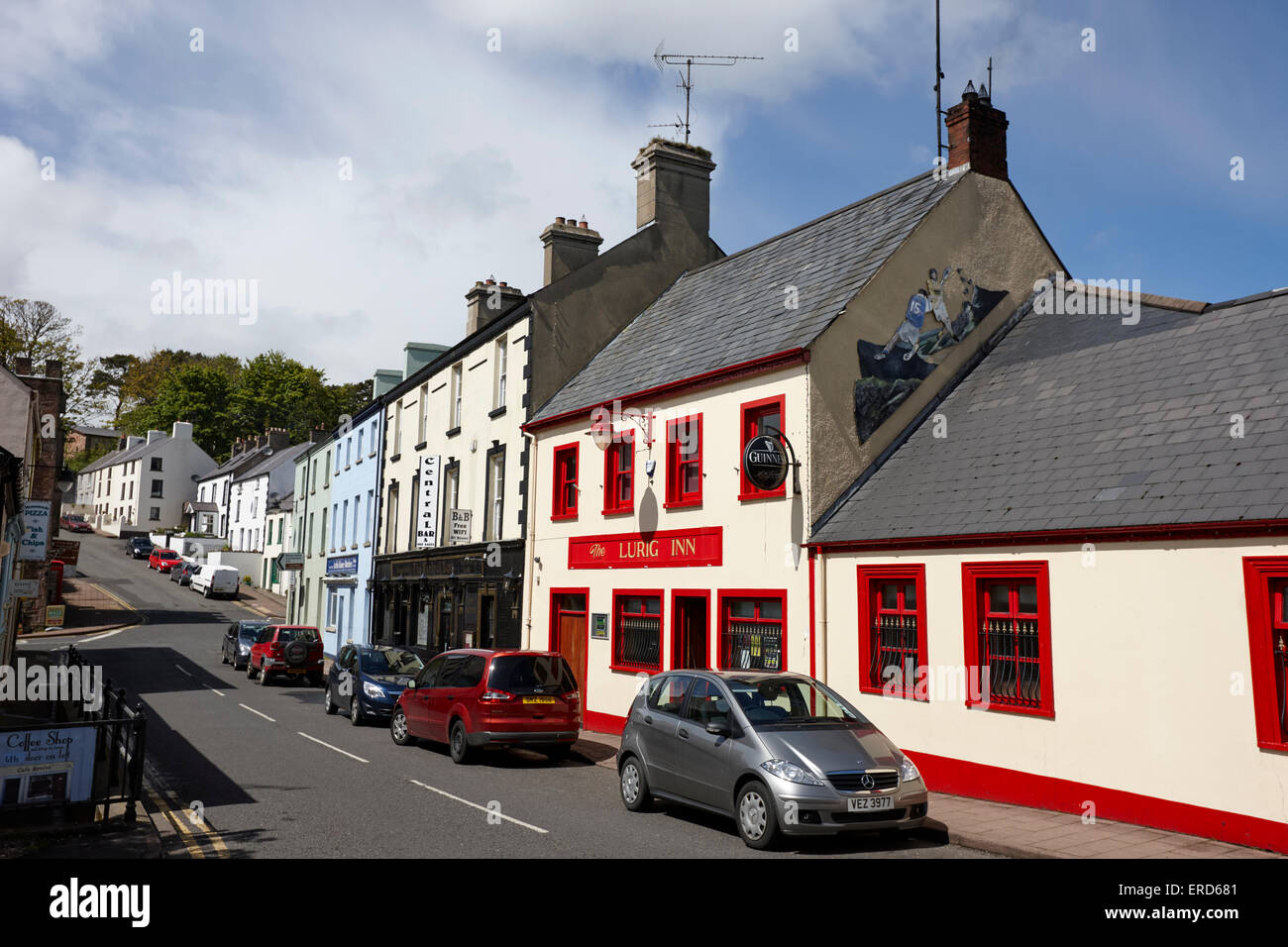 bars and pubs on A2 coastal route through Cushendall glenariffe road County Antrim Northern Ireland UK - Stock Image