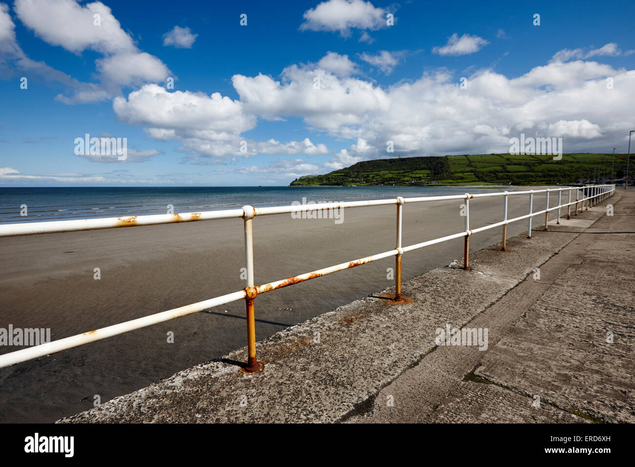 railings along seafront at Carnlough beach County Antrim Northern Ireland UK - Stock Image