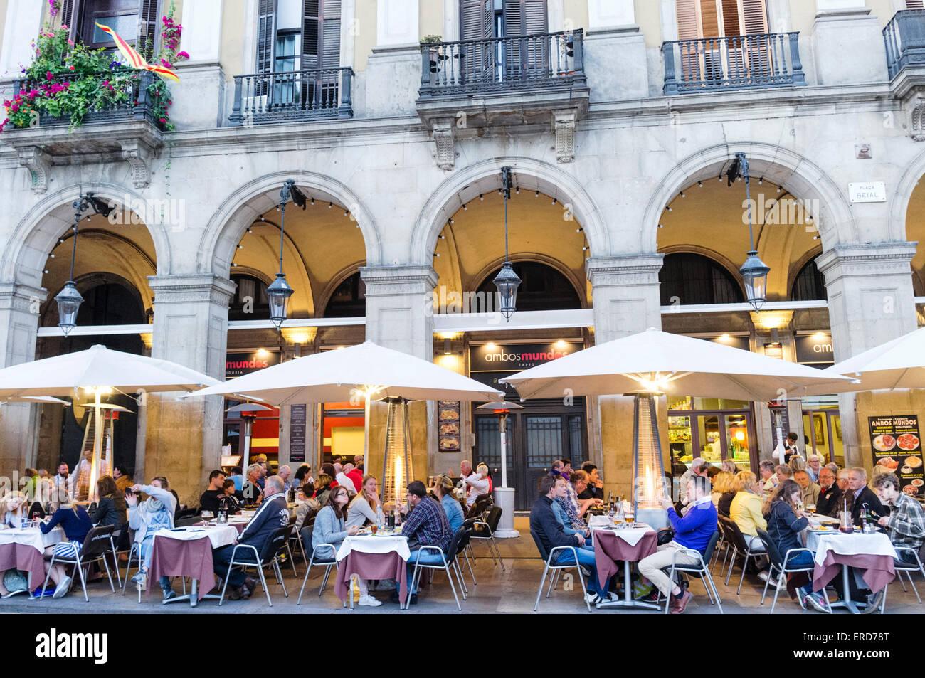 Restaurant at Plaça Reial, Gothic quarter, Barcelona, Spain - Stock Image