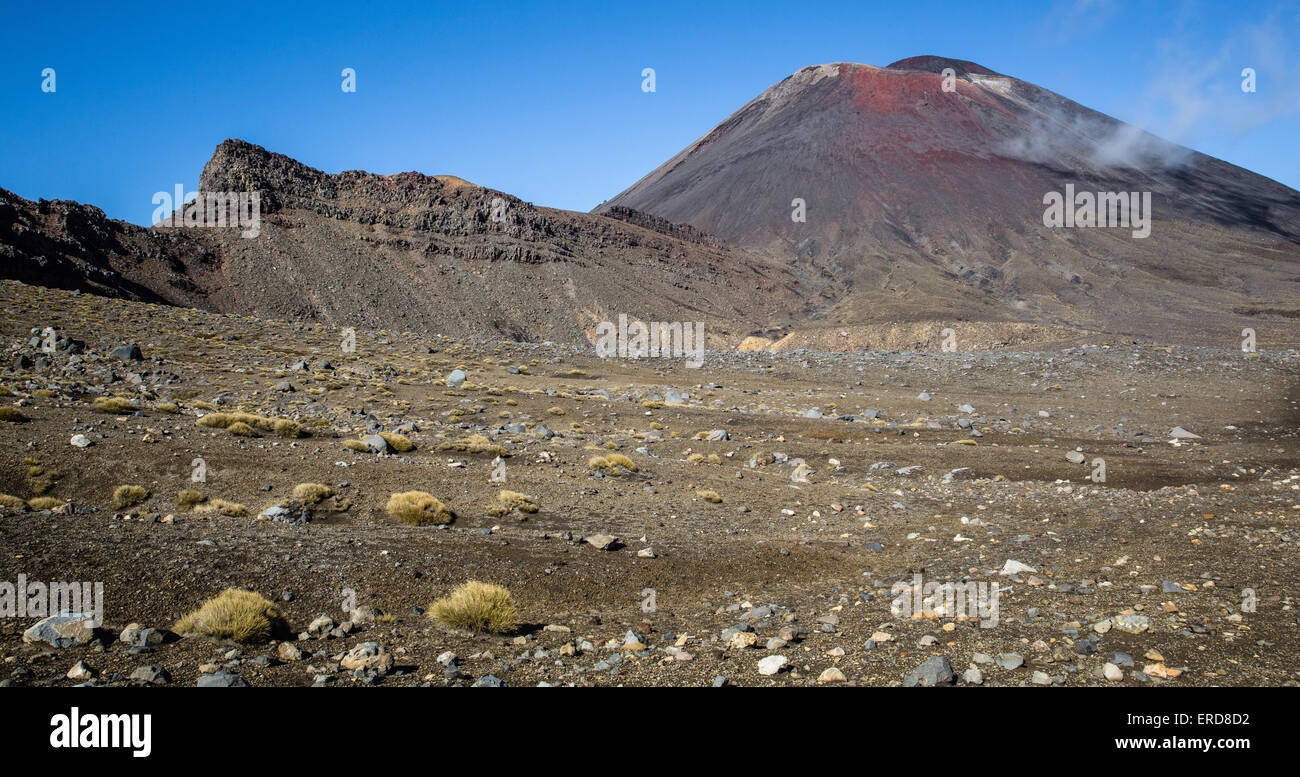 Ngauruhoe with smoking fumaroles and volcanic sill in the Tongariro National Park in North Island New Zealand Stock Photo