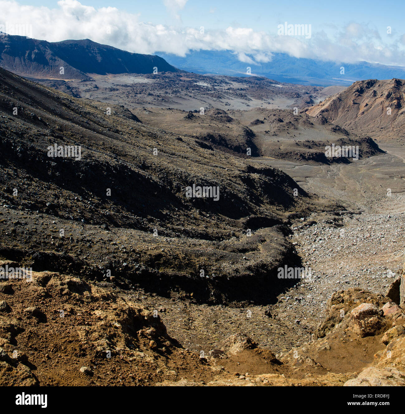 Volcanic landscape of lava flows and sills on the Tongariro Alpine Crossing in North Island new Zealand - Stock Image