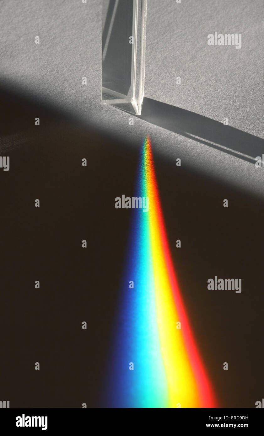 Rainbow from a glass prism - Stock Image