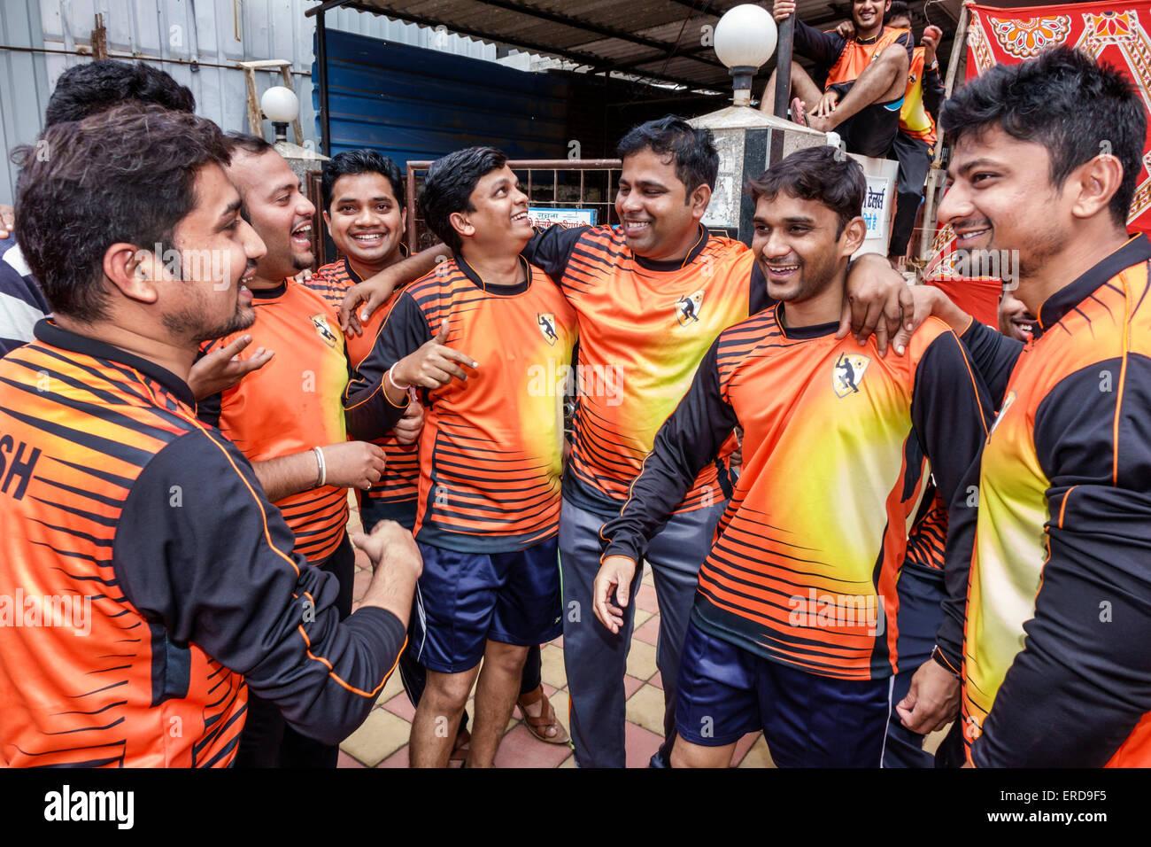 Mumbai India Asian Lower Parel Dhuru Wadi Sitaram Jadhav Marg box cricket game charity event player man friends - Stock Image