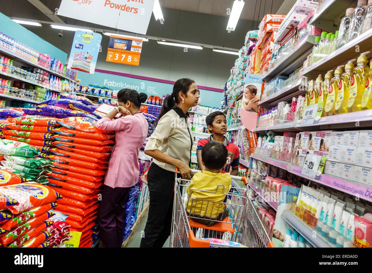 Mumbai India Asian Lower Parel High Street Phoenix mall inside shopping Big Bazaar supermarket grocery store sale - Stock Image