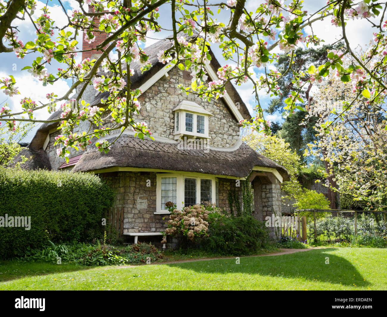 Dutch Cottage in spring at Blaise Hamlet - a Picturesque style group of nine cottages around a green designed by - Stock Image