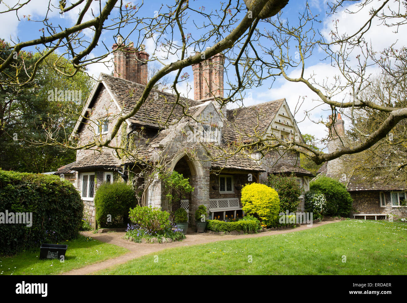 Doulble Cottage Blaise Hamlet - a Picturesque style group of nine cottages around a green designed by John Nash - Stock Image