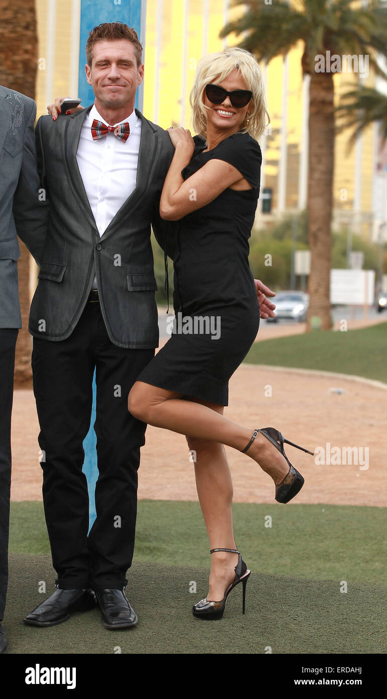 Pamela Anderson Wedding Dress Stock Photos & Pamela Anderson Wedding ...