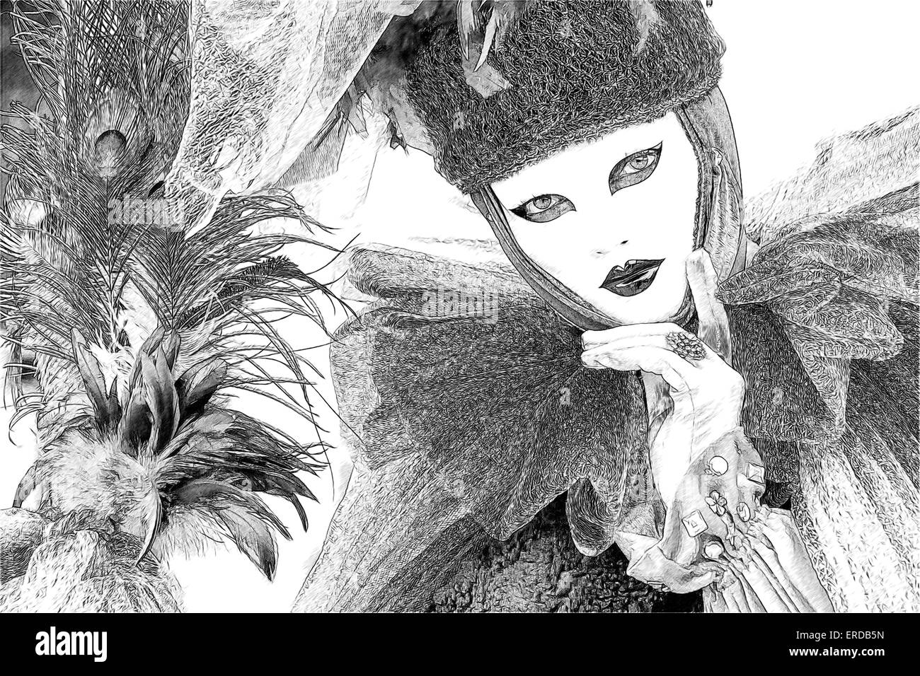Black & white line drawing photo illustration of woman in frilly costume with feathered wand celebrating Carnival - Stock Image