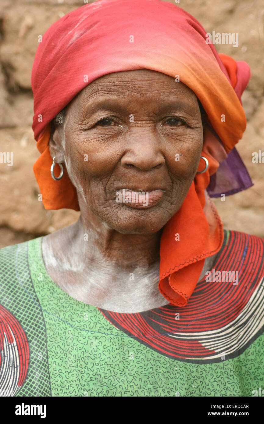 Elder woman during wedding ceremony, Kangala, Burkina Faso - Stock Image