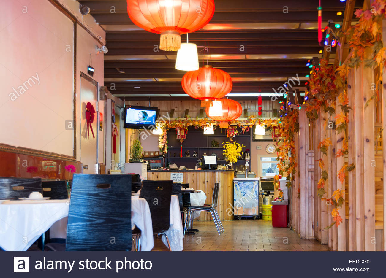 Small Bright Empty Chinese Restaurant Decorated In Orange Chinese
