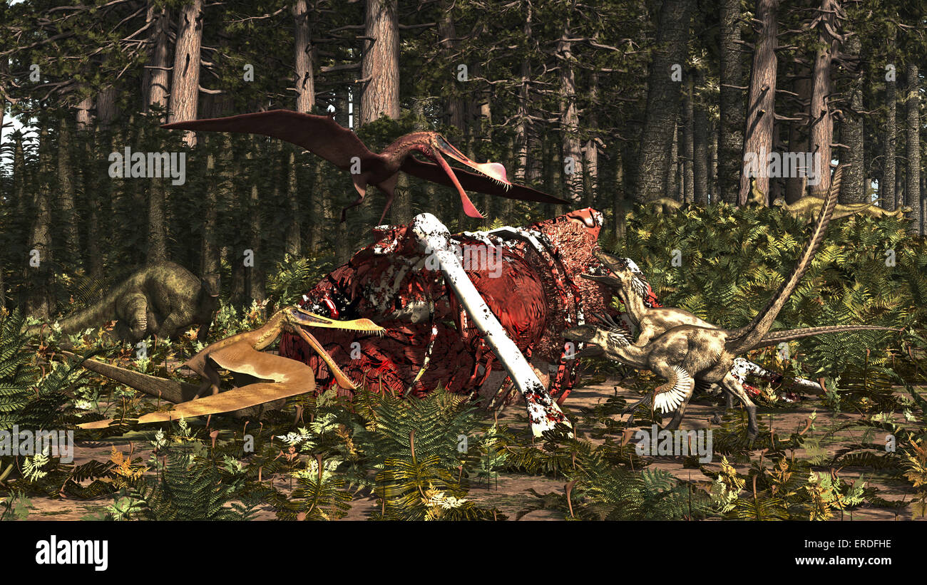 Deinonychus & Coloborhynchus birds feed on a dinosaur carcass. Deinonychus was a dromaeosaur (raptor) from the - Stock Image