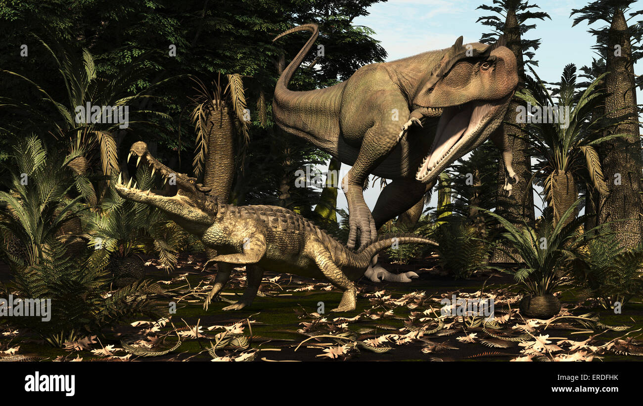 A large Carcharodontosaurus attacks a Kaprosuchus. Carcharodontosaurus is a giant predator of North Africa from - Stock Image