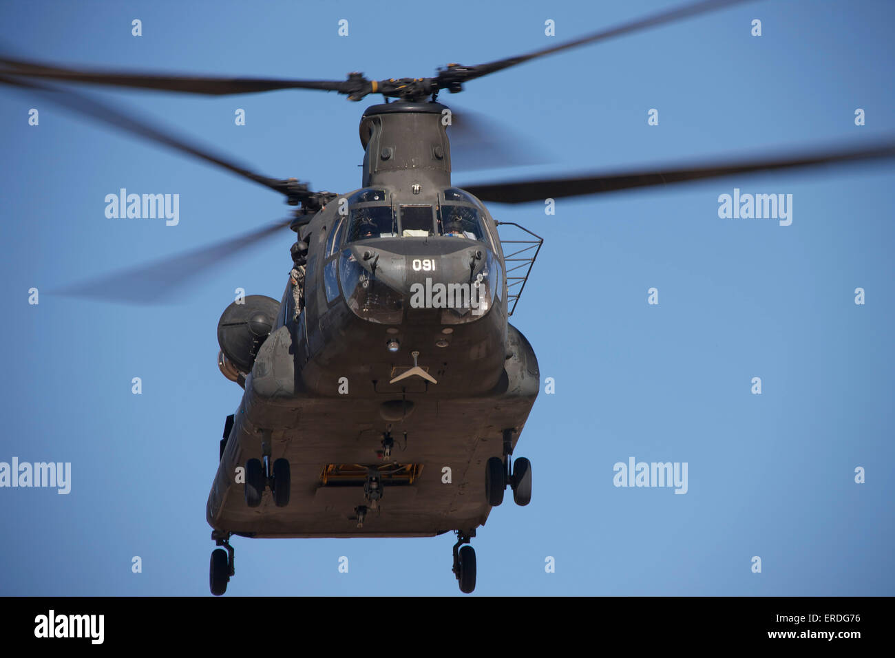 CH-47 Chinook flies over the Playas Training Area, New Mexico during exercise Angel Thunder 2013. - Stock Image