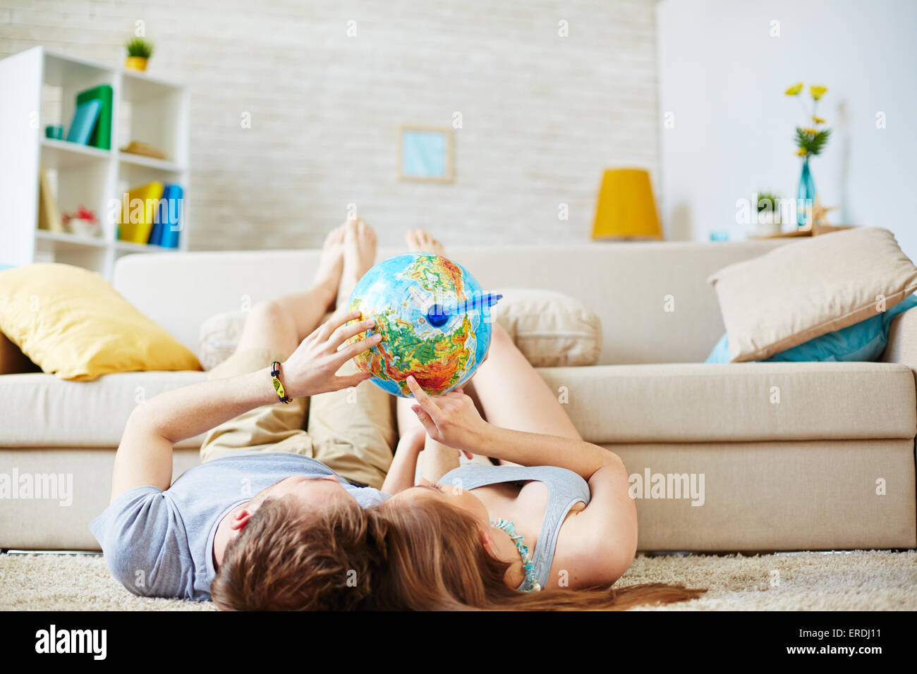 Romantic couple dreaming of summer travel - Stock Image