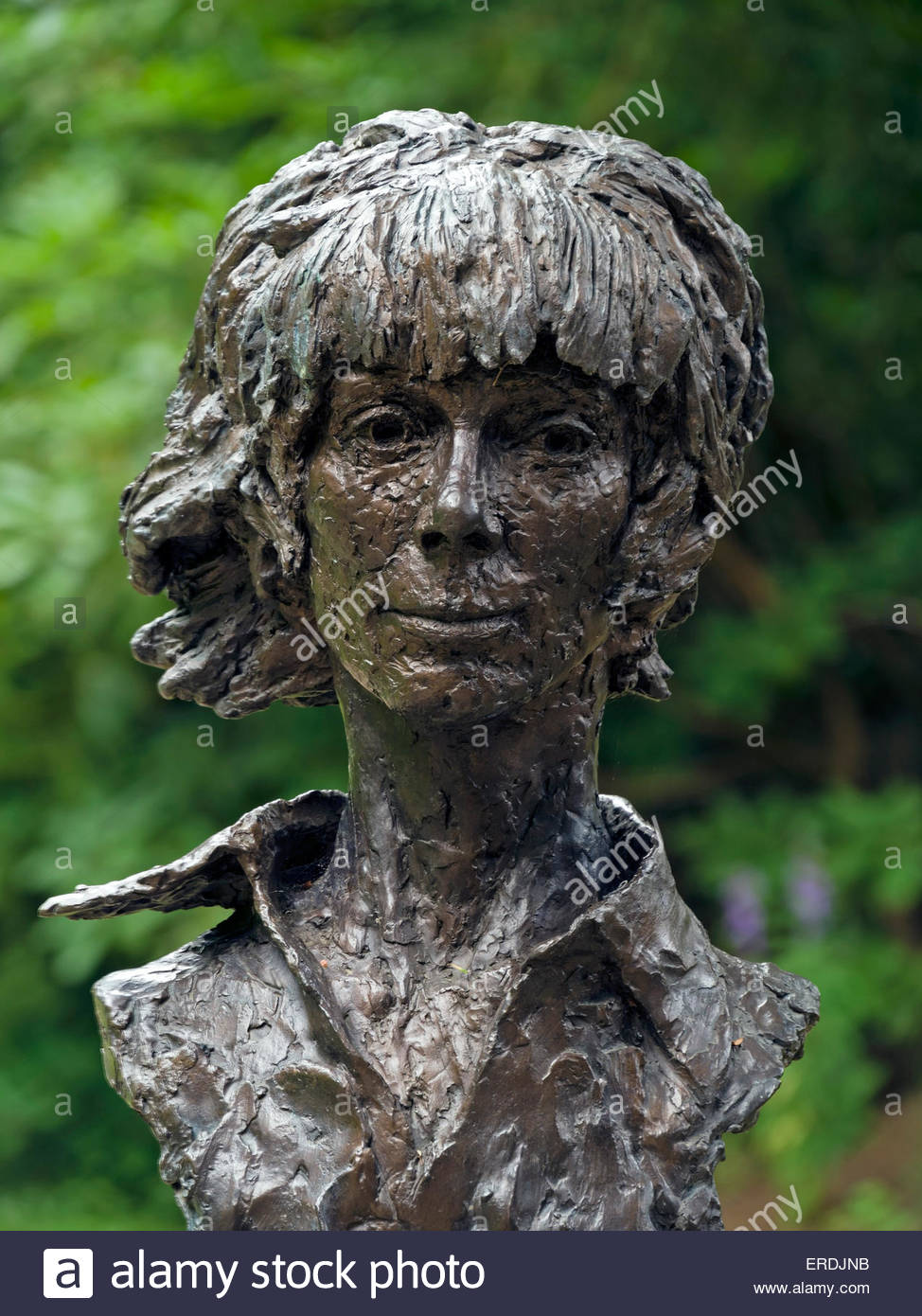 Bust sculpture of Deborah, Dowager Duchess of Devonshire on display in Chatsworth Gardens, Derbyshire, England, - Stock Image