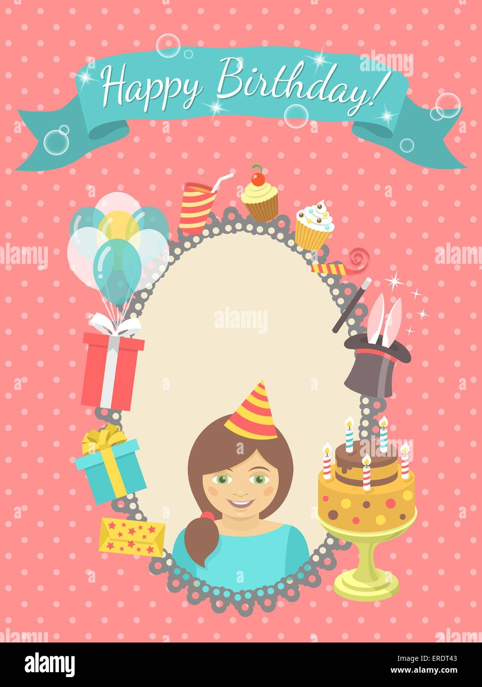 modern flat birthday card with happy girl gifts balloons