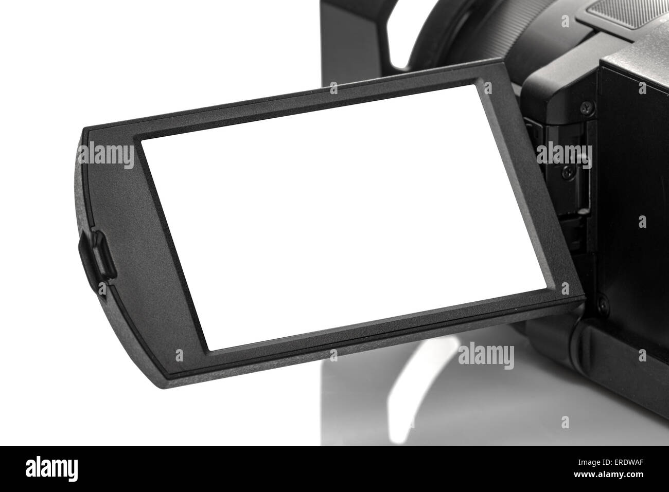 Digital Handycam Video Camcorder Display as White Blank Copy Space - Stock Image