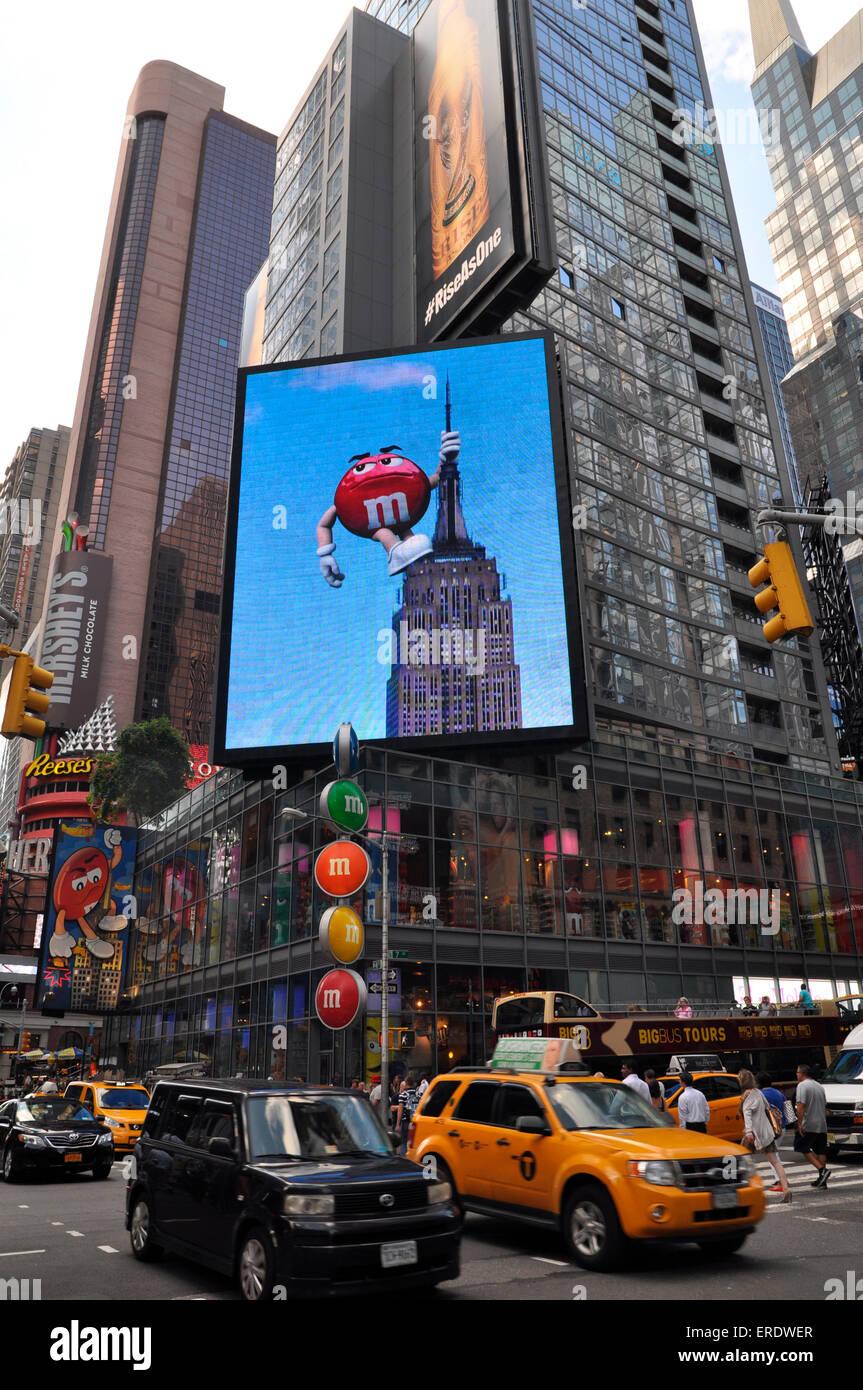 M&M Billboard, Times Square, Manhattan, New York City, New York, USA - Stock Image