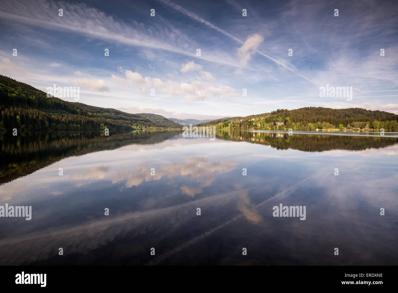 Water reflections on the Titisee lake in the Black Forest, Breisgau-Hochschwarzwald, Baden-Württemberg, Germany - Stock Image