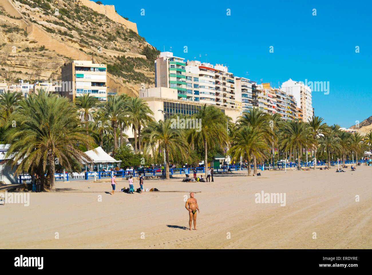 Playa del Postiguet, Alicante, Alacant, Costa Blanca, Spain - Stock Image
