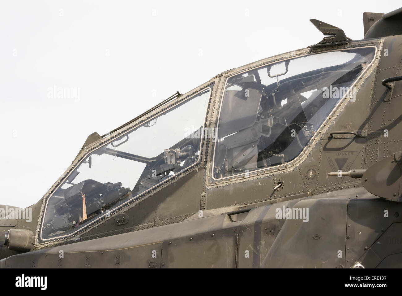 Modern attack helicopter cockpit with two man crew capability , outside view - Stock Image