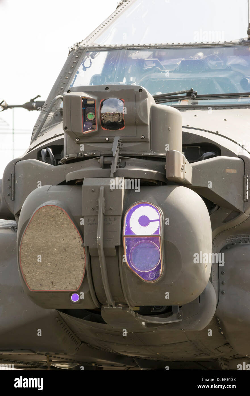Modern attack helicopter equipped with the latest generation sensors for target localization and surveillance - Stock Image
