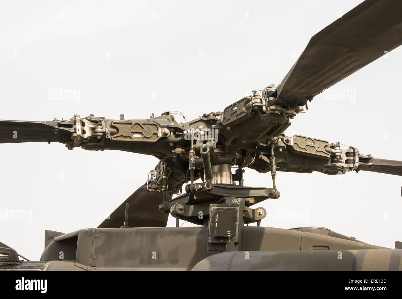 Modern attack helicopter main rotor mechanism with four blades - Stock Image