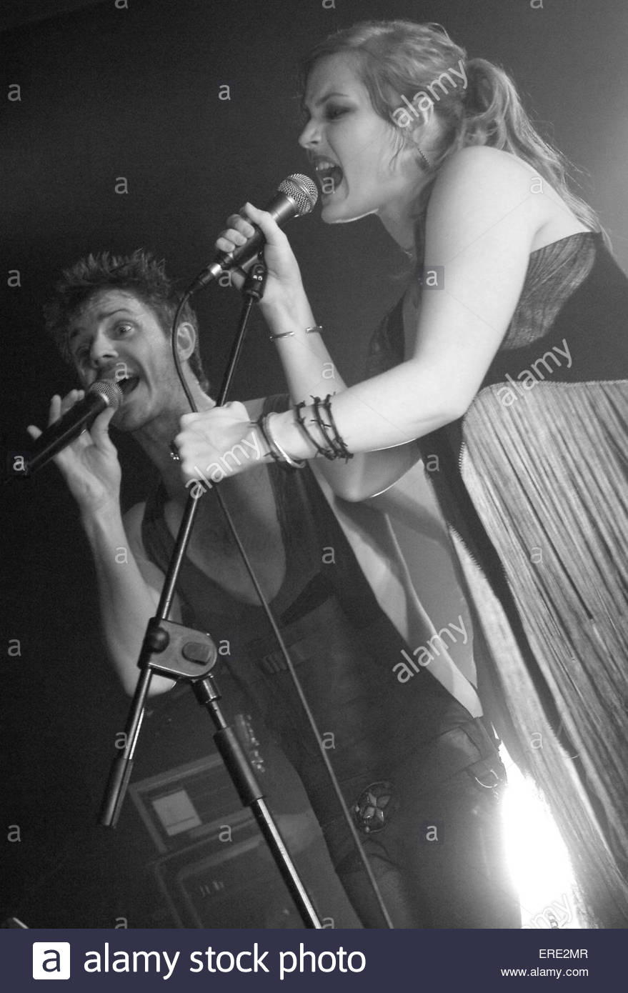 Jake Shears and Ana Matronic of Scissor Sisters performing in Bristol, March 2004. Stock Photo