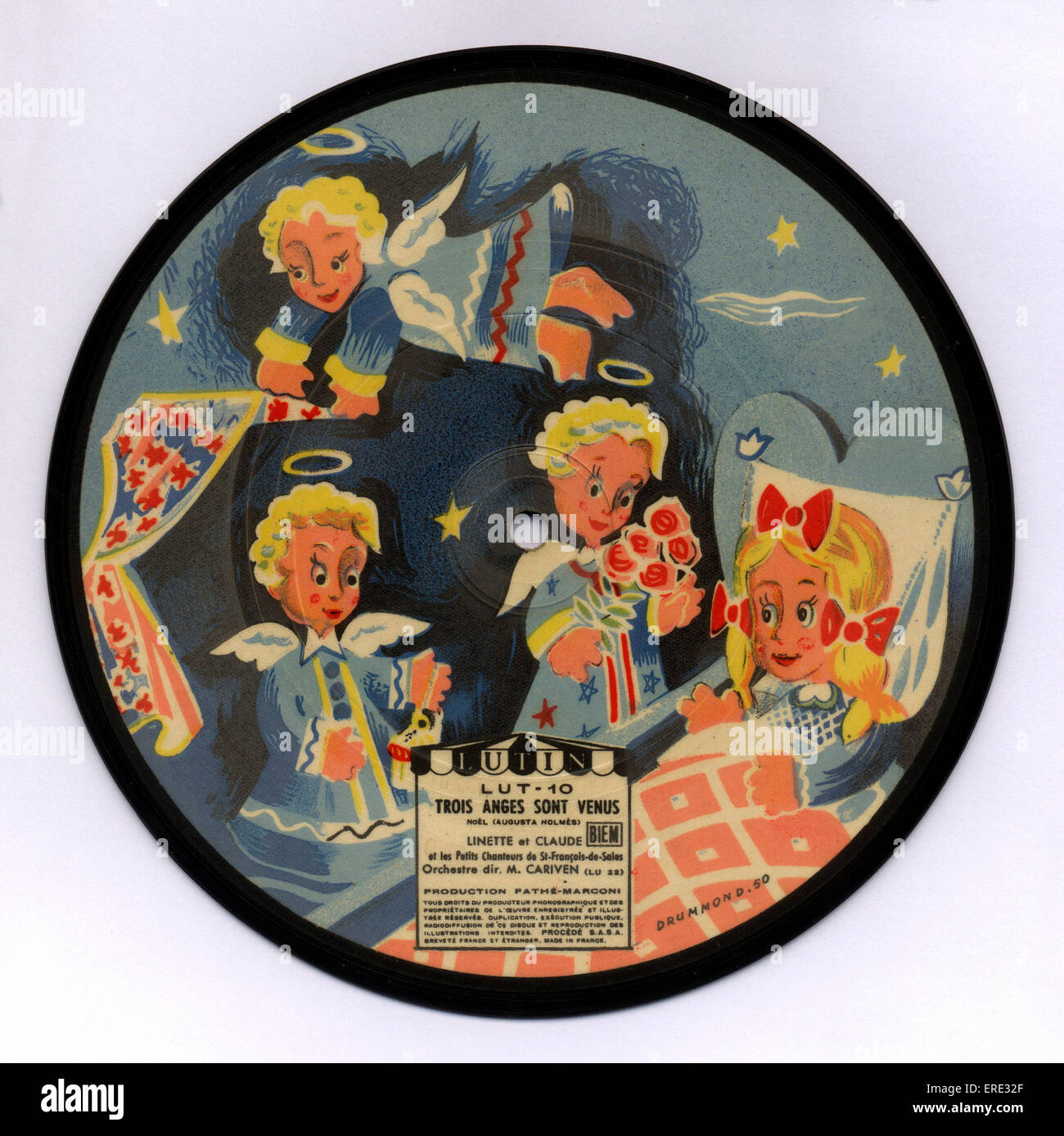 A-side of early children picture disc, 78 rpm, c. 1955 - Stock Image