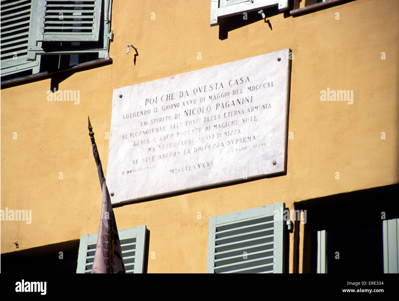 This plate commemorates the death, on 27/05/1840, of the Italian violinist and composer Niccolo Paganini. The inscription - Stock Image