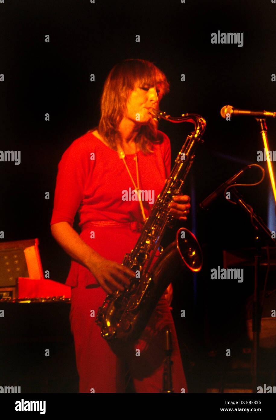 English jazz saxophonist, flautist & composer Barbara Thompson (b. 27/07/1944) performing in 1986 (see Wikipedia - Stock Image