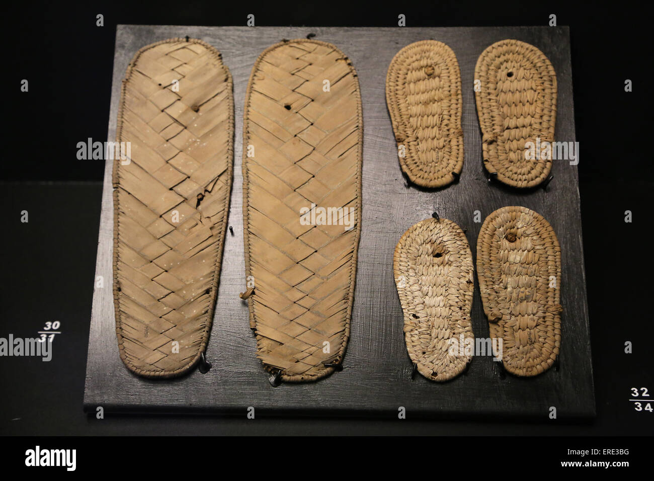Ancient Egypt. Sandals. Palm fibre. Provenance unknown. New Kingdom (1550-1070 BC). Vatican Museum. - Stock Image