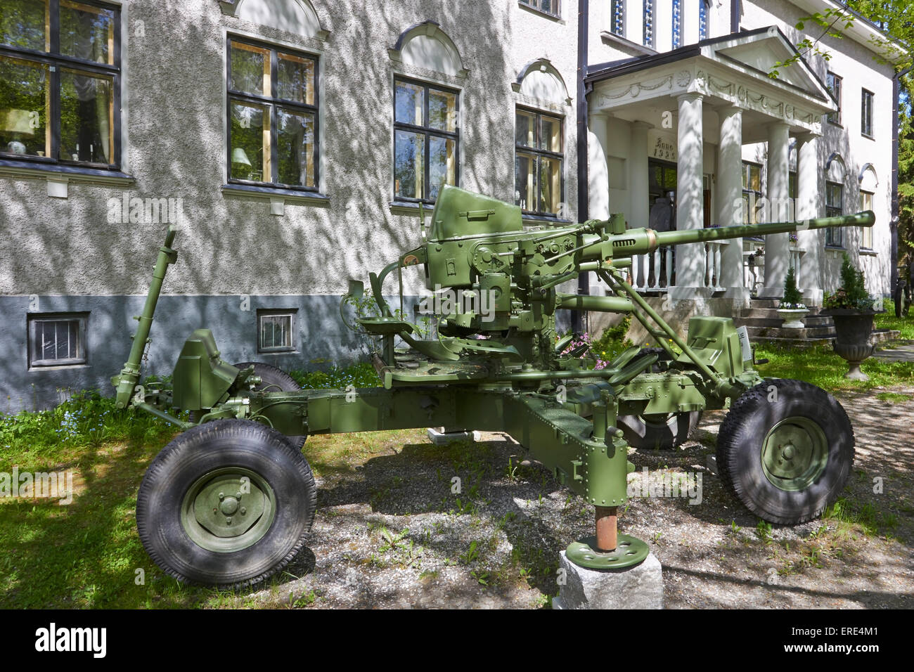 Bofors 40 mm gun on display, Imatra Finland - Stock Image
