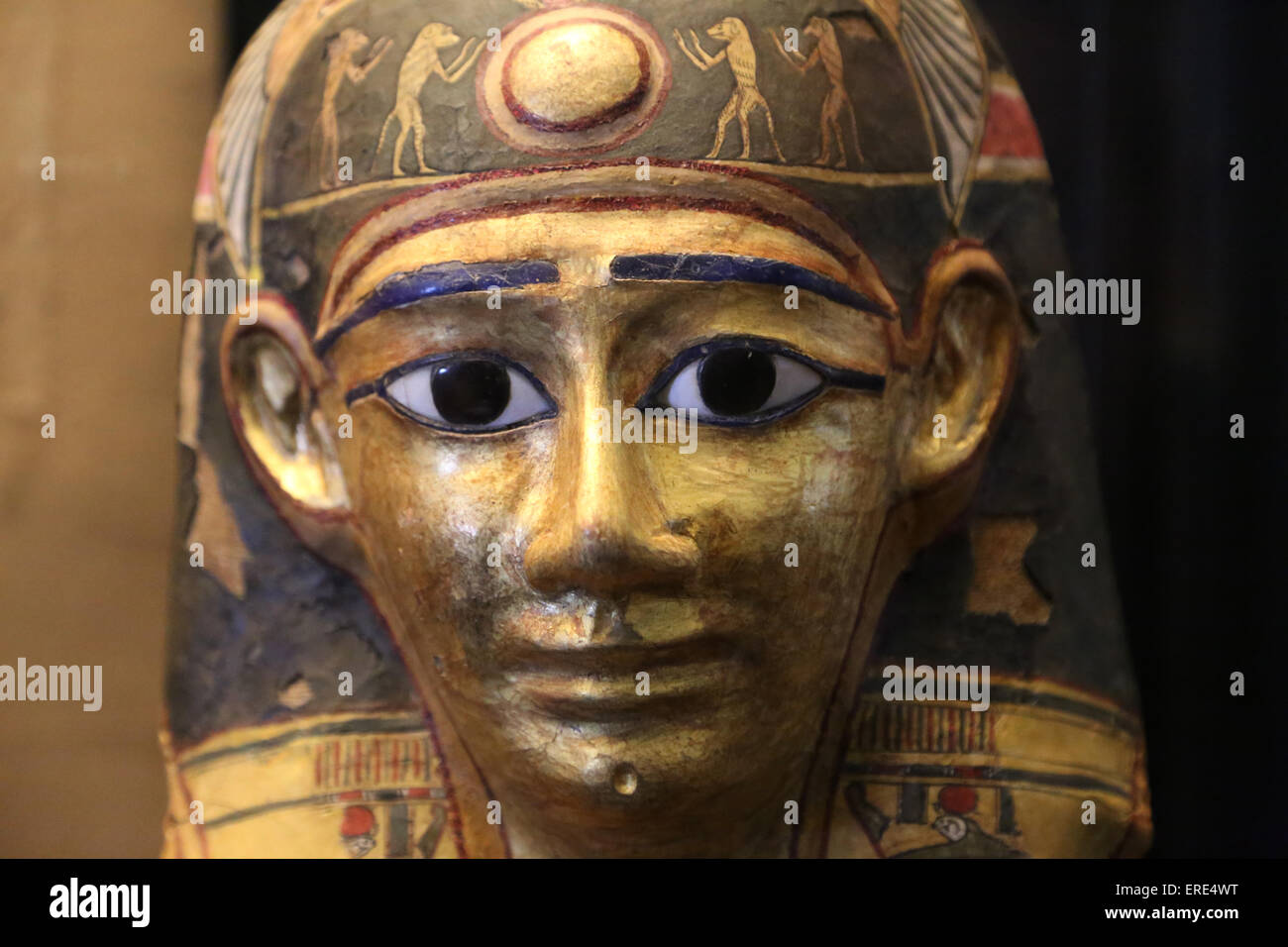 Egyptian art. Funerary mask of Nymaatre. Cartonnage. 2nd C. BC. Vatican Museums. Vatican City State. - Stock Image