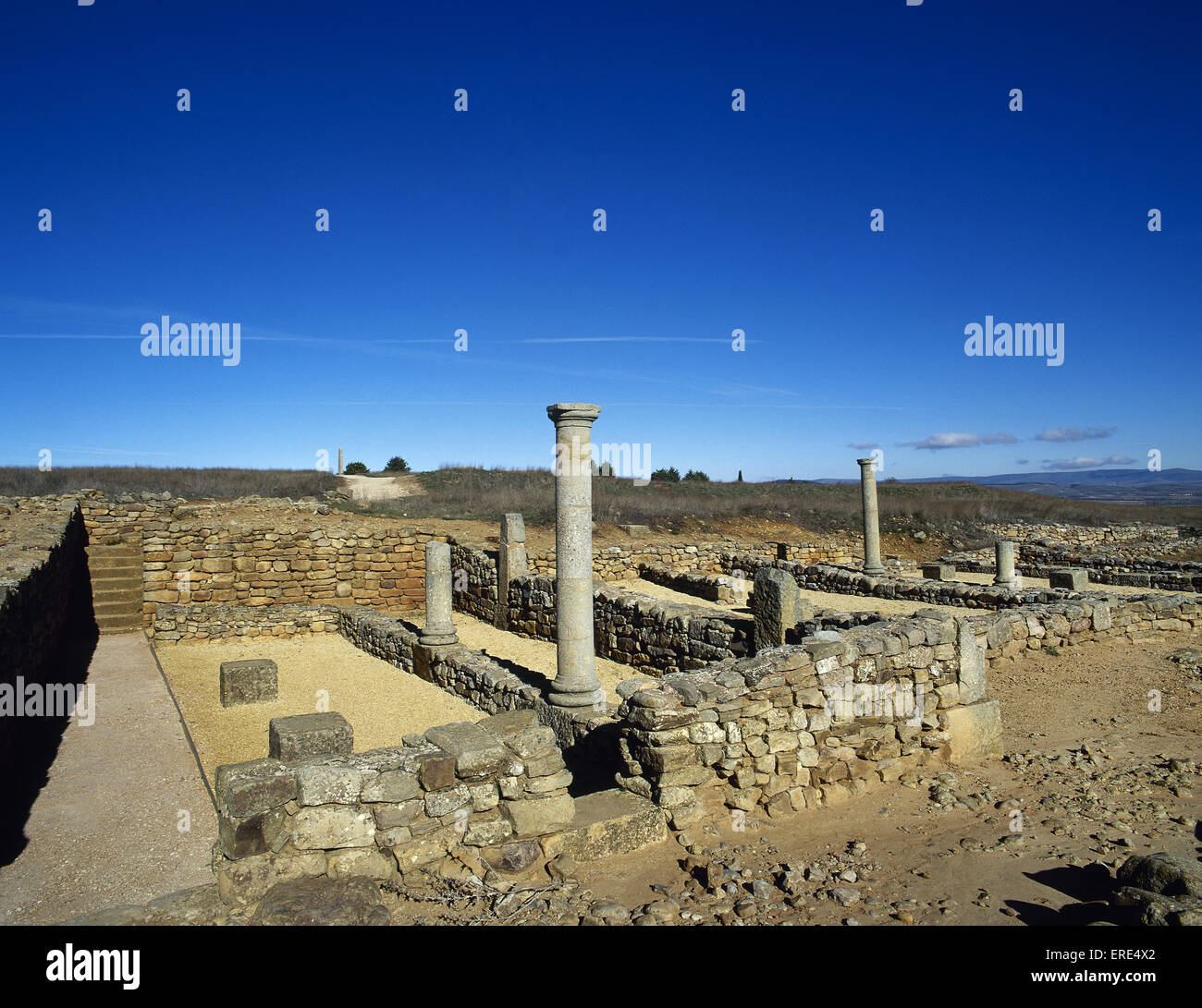 Numancia. Ancient Celtiberian settlement. Famous in the Celtiberian Wars. Roman ruins. Near Soria. Spain. - Stock Image