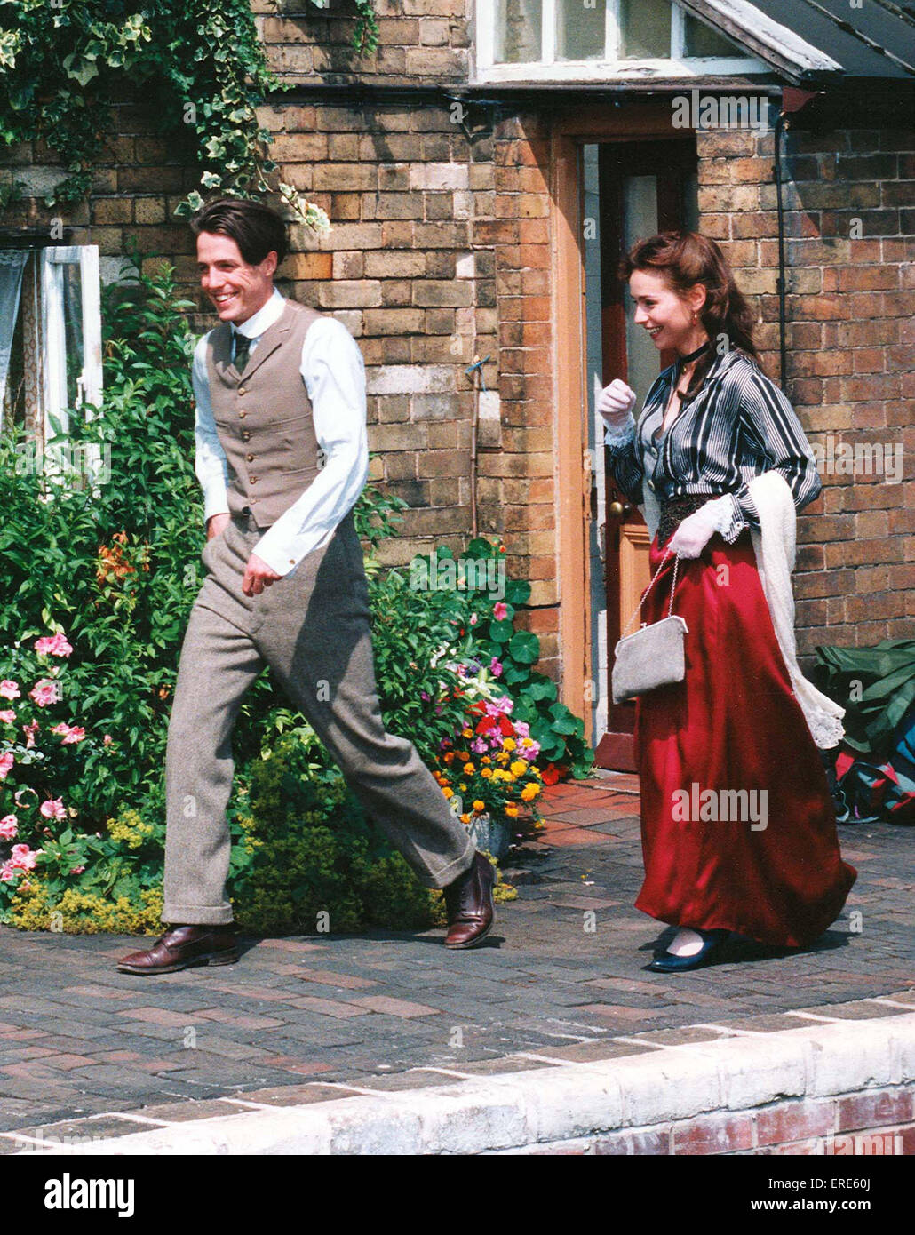 Hugh Grant gets chased by Tara FitzGerald on Hampton Loade station Shropshire on The Severn Valley Steam Railway, - Stock Image