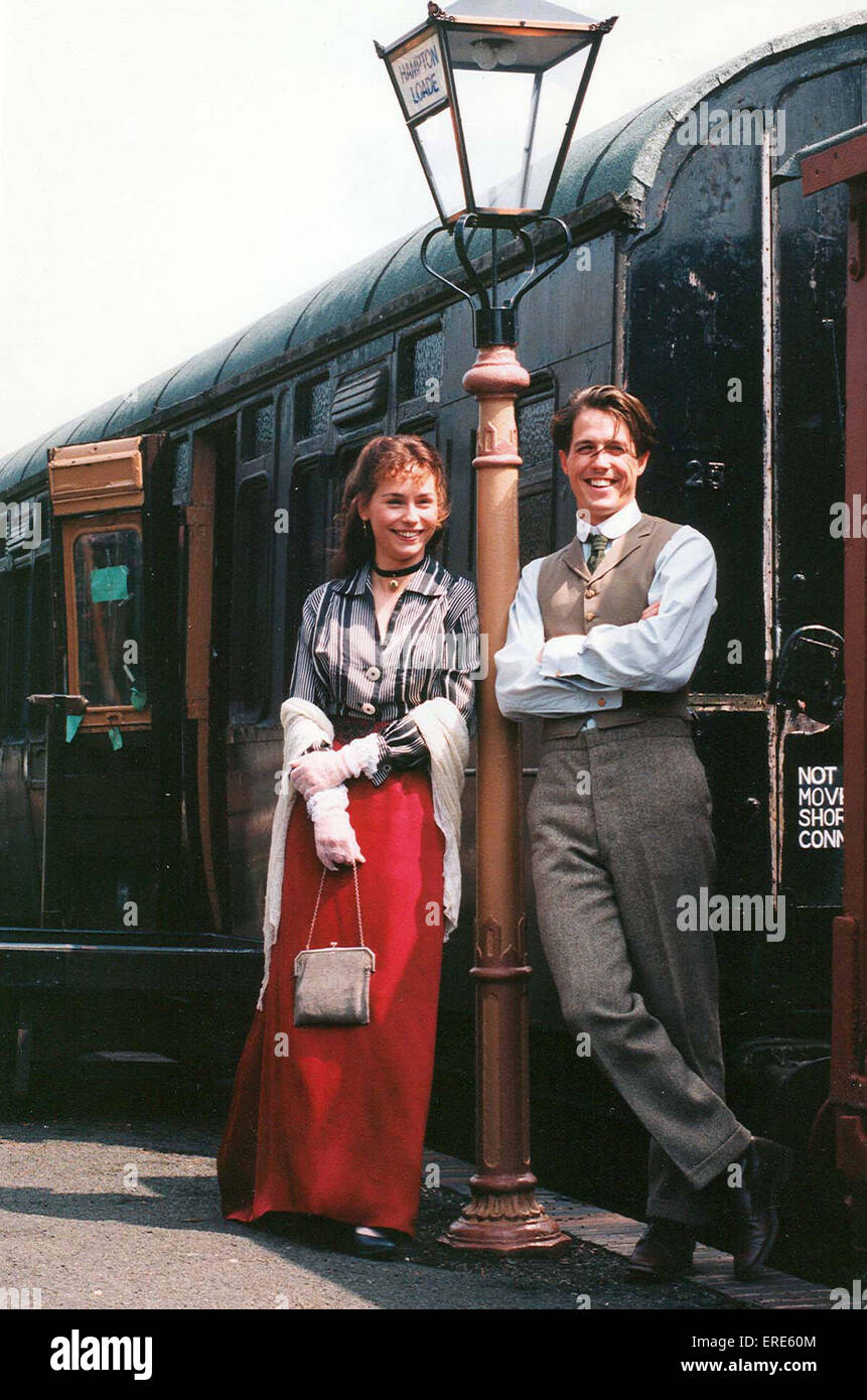 Hugh Grant and Tara FitzGerald posing for a press shot on Hampton Loade station on The Severn Valley Steam Railway, - Stock Image