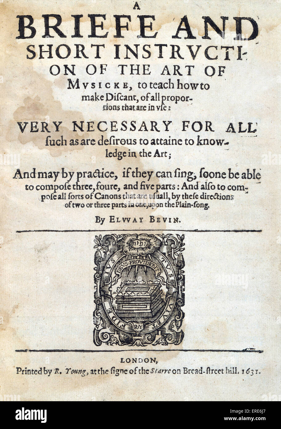 A Briefe and Short Instruction on the Art of Musicke by Elway Bevin, 1631, first edition. Engraved titlepage. - Stock Image