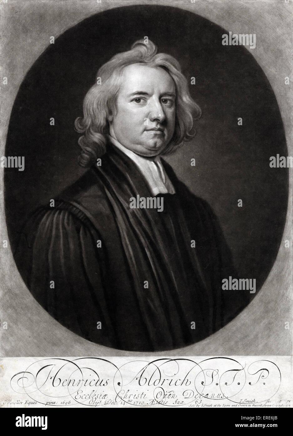 Henry Aldrich - Commemorative portrait of Henry Aldrich S.T.P., Ecclesia Christi Oxon. Decanus.Engraving by J. Smith - Stock Image