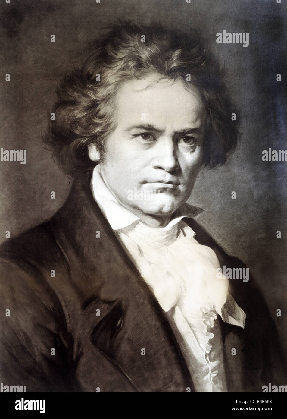 Ludwig van Beethoven, composer.   Sepia photograph by Bruckmann after a painting by Carl Jäger, 1870. German - Stock Image
