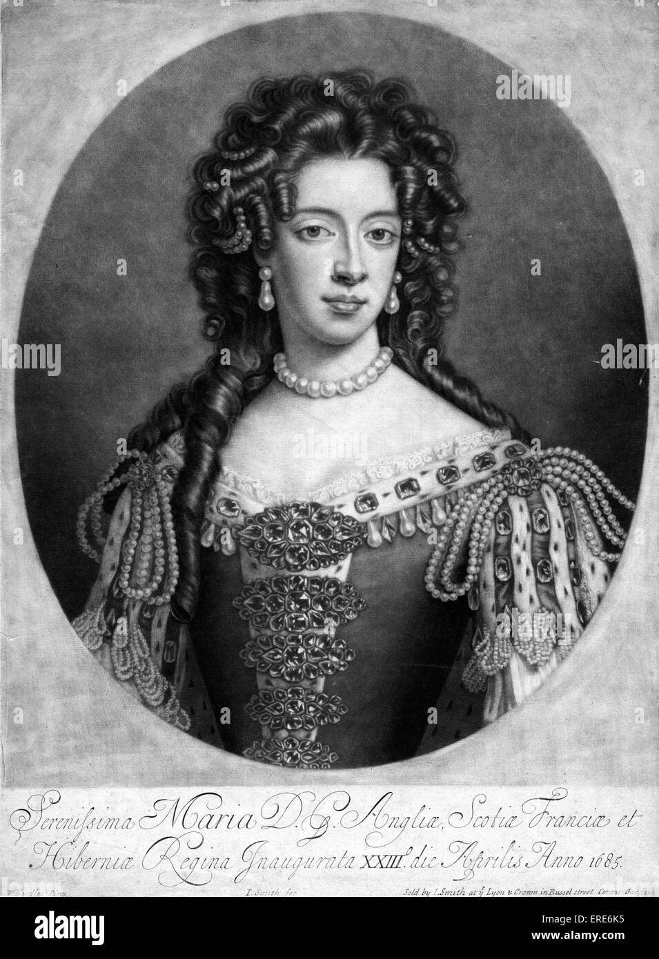 Mary of Modena.   1703. Engraving by J. Smith after painting by G. Kneller. Sold by J. Smith at ye Lyon & Crown - Stock Image