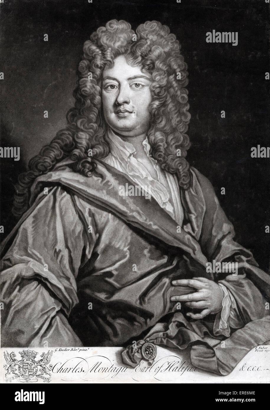 Charles Montagu, first Earl of Halifax, portrait. English poet and statesman, 16 April 1661 - 19 May 1715.  Mezzotint - Stock Image